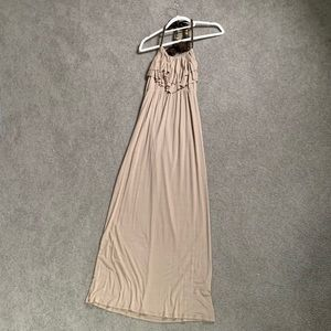 Long Beige Halter Dress w/ Rope Tie